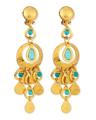 24k Gold Plated & Turquoise Chandelier Clip-On Earrings