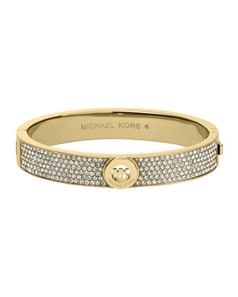 Pave Golden Logo Hinge Bangle