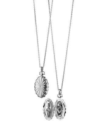 Sunburst Silver Oval Locket Necklace