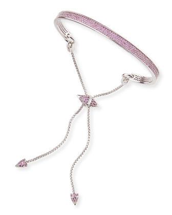 Silver-Plated Pave Pink Bracelet