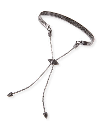 Gunmetal-Plated Pave Black Bracelet