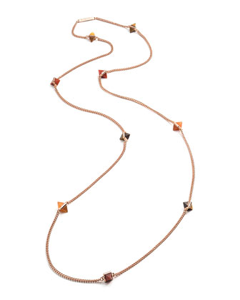 9-Station Rose Gold-Plated Pyramid Necklace, Red