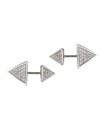 Front/Back Pave Pyramid Stud Earrings