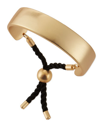 Wide Matte Golden Bar & Rope Cuff