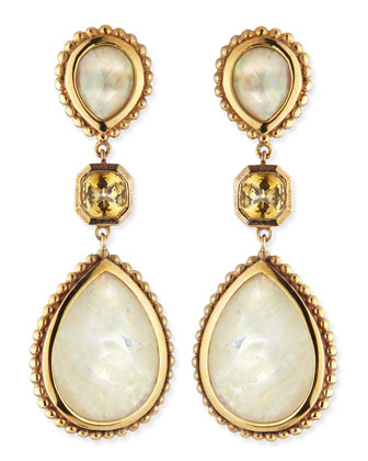 Mother-of-Pearl & Citrine Drop Earrings