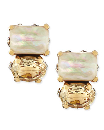 Mother-of-Pearl & Citrine Button Clip-On Earrings