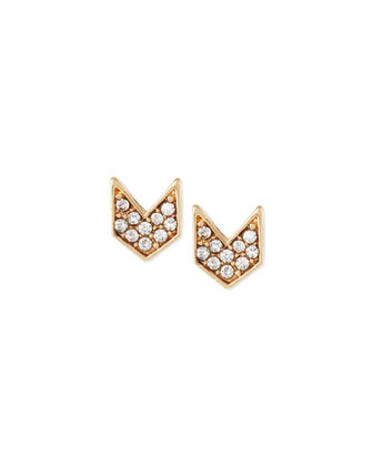 Chevron Crystal Stud Earrings