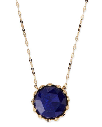 Splash Rose-Cut Lapis Pendant Necklace