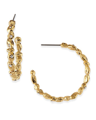Crystal Encrusted Golden Rocky Hoop Earrings