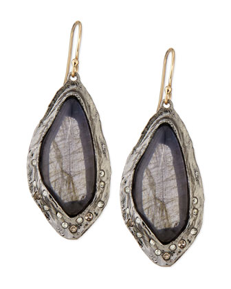 Labradorite Drop Earrings with Crystals