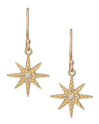 Pave Diamond Star Drop Earrings
