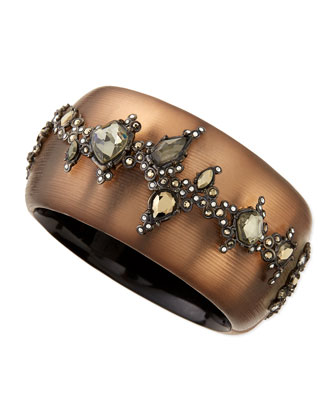 Crystal Lace Lucite Hinge Bracelet, Charcoal Brown