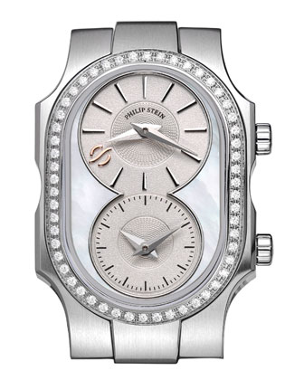 Small Swiss Signature Watch Head with Diamond Bezel