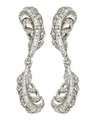 Crystal Double-Feather Earrings