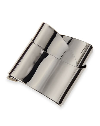 Ruthenium Metal Geometric Ribbon Cuff
