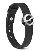 Leather Horizon Bracelet, Black/Stainless