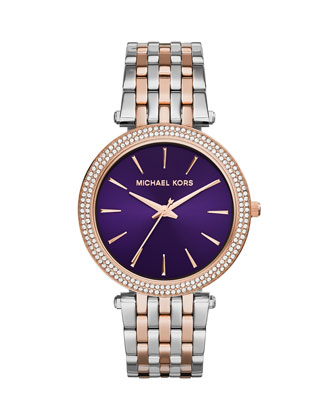 Mid-Size Rose Golden Stainless Steel Darci Three-Hand Glitz Watch