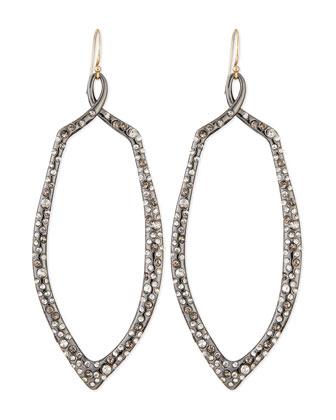 Crystal Encrusted Ruthenium Teardrop Earrings