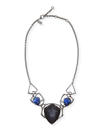 Ruthenium Faceted Bib Necklace