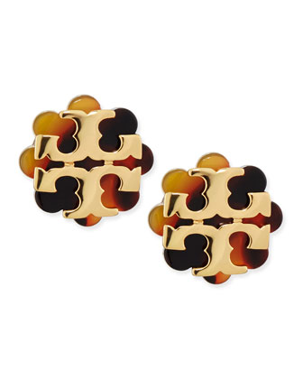 Resin Flower Logo Stud Earrings, Havana/Gold