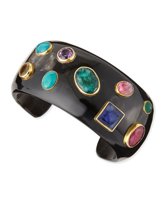 Macho Multi-Stone Dark Horn Cuff