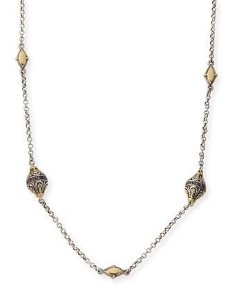 Sterling Silver, 18k Gold & Rhodolite Station Necklace, 36