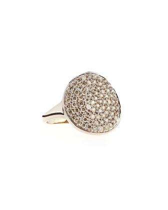 14k White Gold Pave Diamond Disc Ring