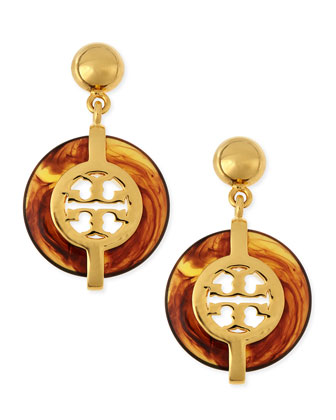 Tortoise Deco Logo Drop Earrings