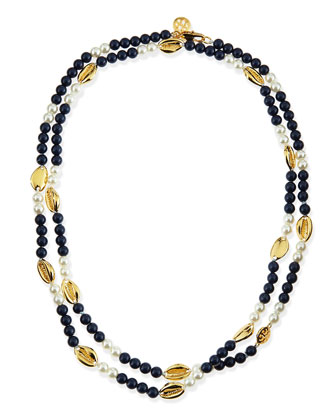 Mikah Simulated Pearl & Shell Rosary Necklace