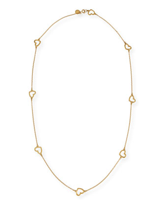 Golden Chasing Hearts Long Necklace
