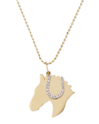 Horse & Horseshoe Duo Charm Necklace with White Diamonds