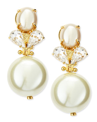 Simulated Pearl Knocker Earrings