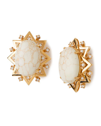Oval Howlite Sunshine Earrings