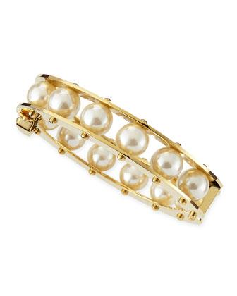 Simulated Pearl Slider Bracelet