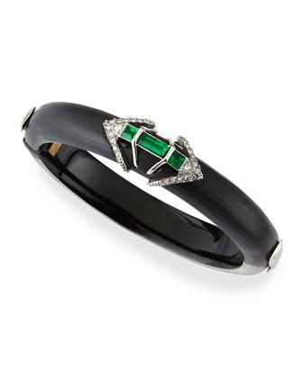 Lucite Hinge Bracelet with Emerald-Tone Baguettes, Black