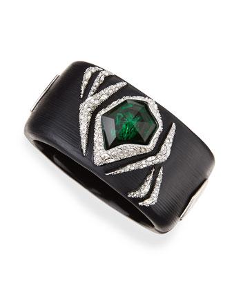 Large Black Lucite Bracelet with Green Crystal