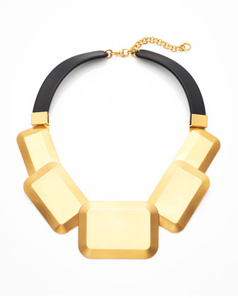 Metal Geometric Collar Necklace, Golden