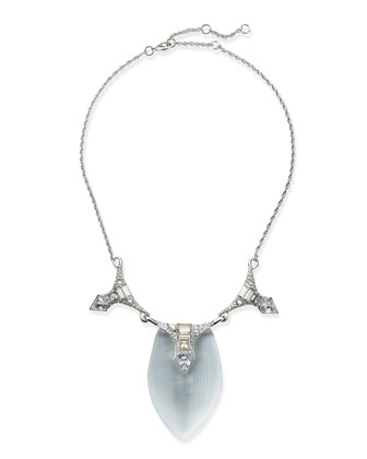 Lucite & Crystal Deco Necklace