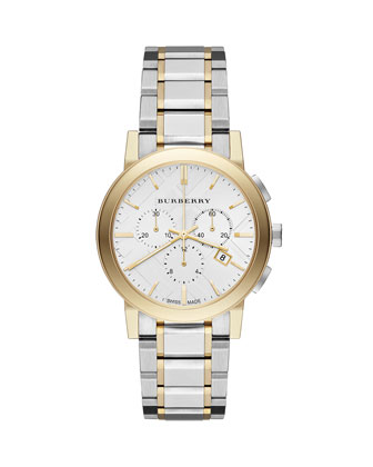 38mm Yellow Golden & Stainless Chronograph Watch