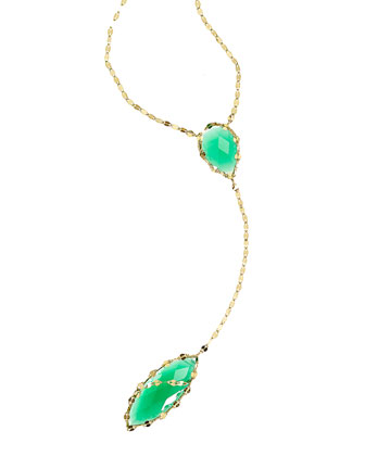 14k Envy Lariat Necklace in Green Onyx