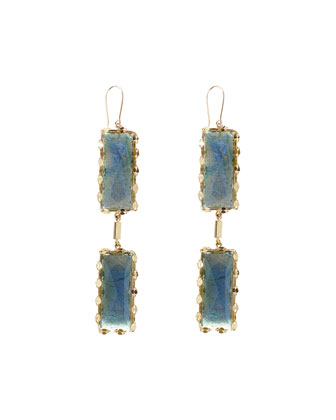 Double Crystal Labradorite Drop Earrings
