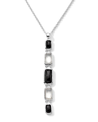Sterling Silver Wonderland Rectangular Linear 5-Stone Pendant Necklace in ...