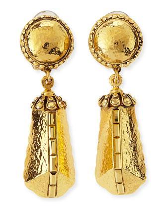 24k Gold-Plate Clip-On Drop Earrings