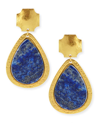 Blue Lapis Russet Drop Earrings