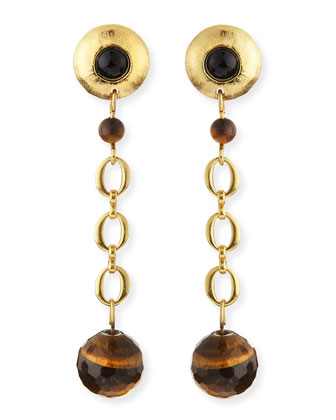 Black Onyx & Tiger's Eye Galaxy Earrings