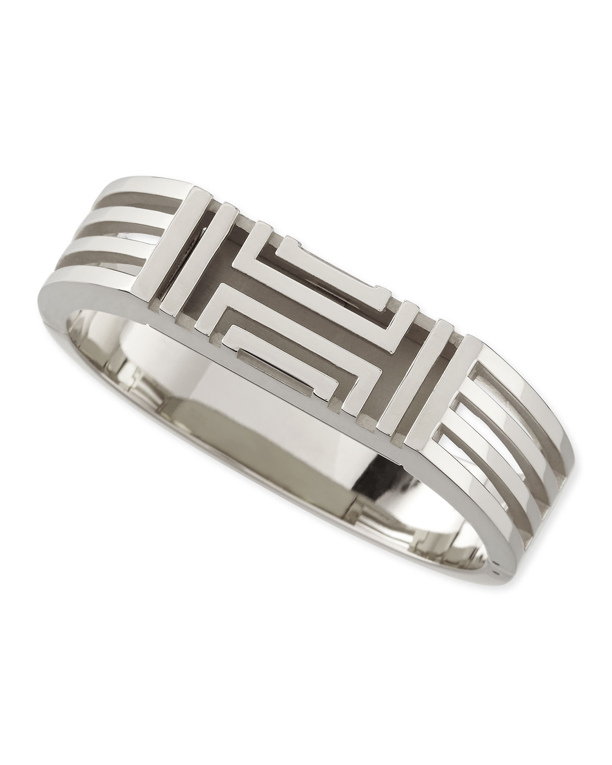 Rhodium-Plated Fitbit-Case Bracelet, Silver - Tory Burch