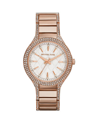 Mid-Size Rose Golden Stainless Steel Kerry Quilted Three-Hand Glitz Watch
