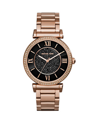 Caitlin Rose Golden Watch with Black Dial