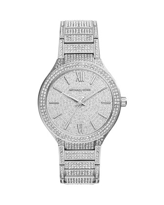 Kerry Silver Stainless Steel Pave Watch