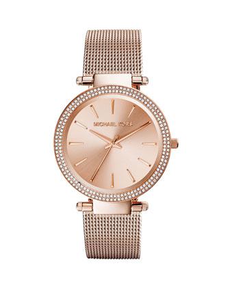 Darci Rose Golden Stainless Steel Mesh Watch